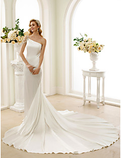 Mermaid / Trumpet One Shoulder Cathedral Train Stretch Satin Wedding Dress with Crystal Beading by LAN TING BRIDE®