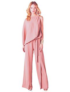 Damen einfarbig Lässig/Alltäglich Einfach Overall Breites Bein,¾ Ärmel Rundhalsausschnitt Frühling Sommer Baumwolle Polyester