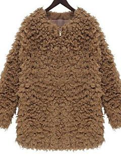 レディース パーティー お出かけ カジュアル/普段着 冬 コート,シンプル ラウンドネック ソリッド ショート ラムファー 長袖