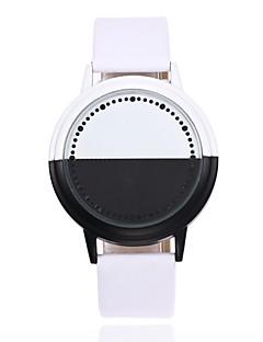 billige Læder-Herre Quartz Armbåndsur Kinesisk LED Læder Bånd Kreativ Afslappet Unikke kreative ur Mode Sort Hvid