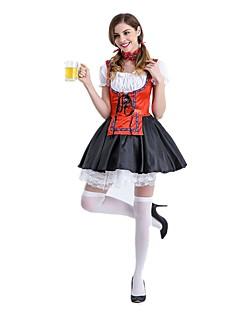 Oktoberfest Cosplay Cosplay Kostumer Drakter Kvinnelig Voksne Festival/høytid Halloween-kostymer Rød Oktoberfest Vintage