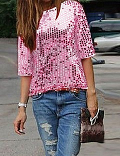 Χαμηλού Κόστους The Pink Collection-Γυναικεία T-shirt Κλαμπ Εκλεπτυσμένο Μονόχρωμο Πούλιες / Καλοκαίρι / Φθινόπωρο