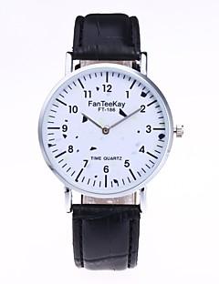 billige Modeure-Herre Dame Quartz Unik Creative Watch Armbåndsur Modeur Kinesisk Hot Salg PU Bånd Vintage Afslappet Elegant Sort Hvid Brun