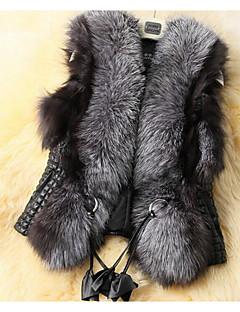 Для женщин На каждый день Осень Зима Пальто с мехом Квадратный вырез,Уличный стиль Однотонный Обычная Без рукавов,Искусственный мех