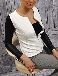 Damen Einfarbig Einfach Lässig/Alltäglich Jacke,Rundhalsausschnitt Frühling Langärmelige Standard Polyester