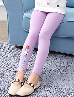 billige Bukser og leggings til piger-Pige Bukser Blomstret Broderi, Bomuld Efterår Alle årstider Pænt tøj Blonde Navyblå Grå Lilla Gul Rosa