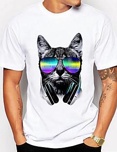 Bomull Lin Polyester Halvlange ermer,Skjortekrage T-skjorte Ensfarget Stripet Geometrisk Aktiv Ut på byen Herre