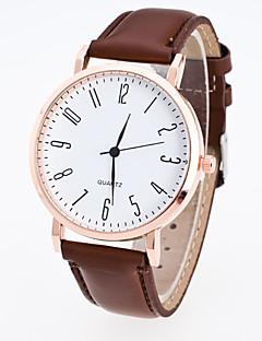 Herrn Damen Kleideruhr Modeuhr Armbanduhr Chinesisch Quartz PU Band Bequem Schwarz Braun