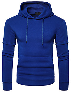 Men's Casual/Daily Hoodie Solid Hooded Micro-elastic Polyester Long Sleeve Fall Winter