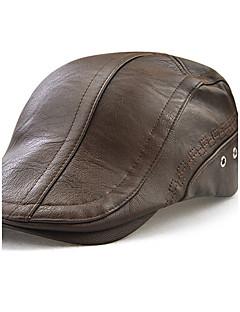 Unisex Hatt Vintage Fritid Fritid/hverdag Vindtett Vandtæt Utendørs Hatter Baseball-luer Sport Beret,Vinter Alle årstider Solid PU Ren