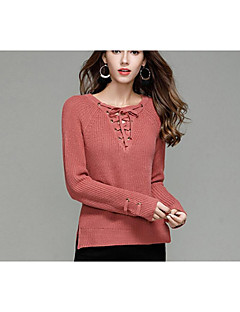 Women's Casual/Daily Simple Regular Pullover,Solid V Neck Long Sleeves Acrylic Fall Medium Micro-elastic