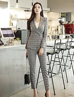 Damen Gestreift Einfach Retro Arbeit Blazer,Hemdkragen Frühling Herbst Lange Ärmel Standard Polyester