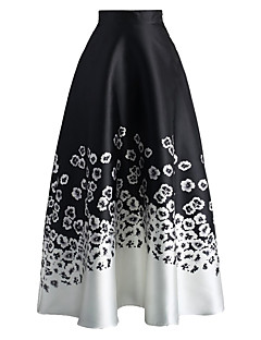 Women's Monochrome Floral Print High Waist Maxi Skirt