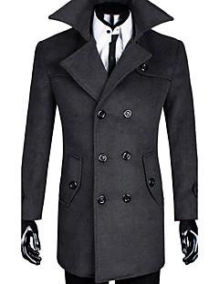 メンズ カジュアル/普段着 秋 冬 コート,シンプル ストリートファッション シャツカラー ソリッド ロング ウール コットン 長袖