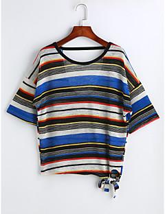 Χαμηλού Κόστους T-shirt-Γυναικεία T-shirt Μονόχρωμο Ριγέ Τετράγωνο Καρό Βαμβάκι