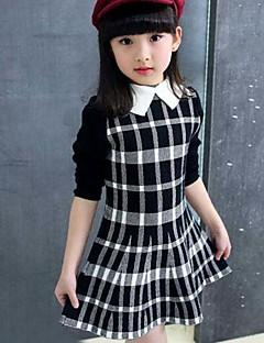שמלה כותנה אביב סתיו שרוול ארוך משובץ הילדה של
