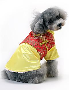 billiga Hundkläder-Hund Kappor Hundkläder Broderi Brun / Röd / Blå Polyester Kostym För husdjur Herr / Dam Nyår