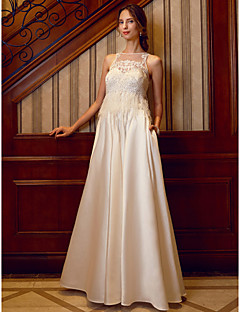 A-Line Illusion Neckline Floor Length Satin Wedding Dress with Beading Appliques Feathers / Fur Pockets by LAN TING BRIDE®