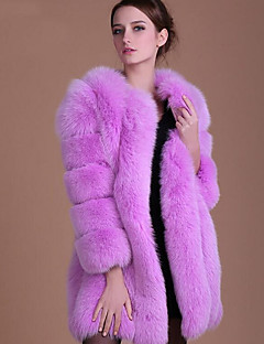 Women's Plus Size Simple Casual Winter Fall Fur Coat,Solid Round Neck Long Sleeve Long Faux Fur