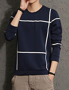 Heren Eenvoudig Casual/Dagelijks Grote maten Sweatshirt Effen Ronde hals Inelastisch Katoen Spandex Lange mouw Lente Herfst