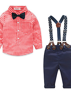 Boys' Others Polka Dots Clothing Set,Cotton Polyester Spring Fall Blue Green Red