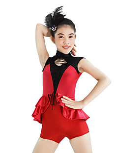 MiDee Jazz Unitards Women's / Children's Performance Spandex /  Cascading Ruffle 2 Pieces Red Jazz/ Short Sleeve Natural