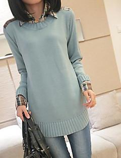 Women's Casual/Daily Simple Regular Pullover,Solid Shirt Collar Long Sleeves Cotton Fall Medium Micro-elastic