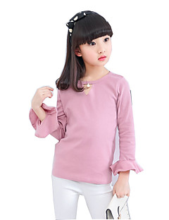 cheap Kids' New Ins-Girls' Solid Tee, Cotton Polyester Spring Fall Long Sleeves White Blushing Pink