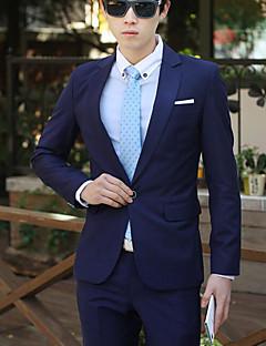 Herren Solide Einfach Lässig/Alltäglich Arbeit Ausgehen Anzug,Gekerbtes Revers Frühling/Herbst Lange Ärmel Standard Baumwolle Polyester