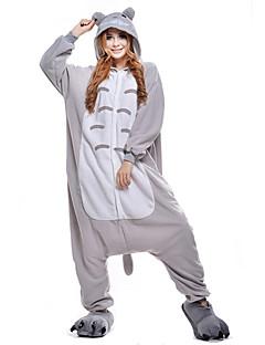 billige Kigurumi-Kigurumi-pysjamas Totoro Kat Onesie-pysjamas Kostume Polar Fleece Grå Cosplay Til Pysjamas med dyremotiv Tegnefilm Halloween Festival /