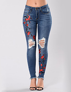 Women's High Rise Micro-elastic Jeans Pants,Sexy Street chic Skinny Ripped Embroidered Embroidered
