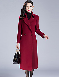 レディース お出かけ 秋 冬 コート,ストリートファッション シャツカラー ソリッド ロング カシミヤ ポリエステル 長袖