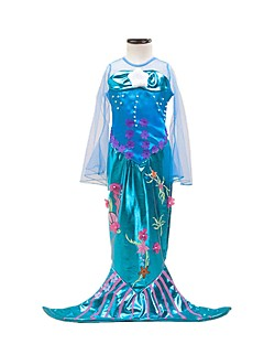 cheap Halloween & Carnival Costumes-Mermaid Tail Dress Children's Girls' Halloween Carnival Festival / Holiday Halloween Costumes Ocean Blue Vintage