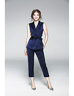 Damen Solide Gestreift Anspruchsvoll Lässig/Alltäglich Shirt Hose Anzüge,Hemdkragen Herbst Ärmellos