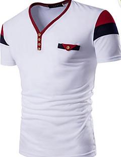 Miehet Lyhythihainen Pyöreä kaula-aukko Puuvilla Vintage Bile T-paita,Yhtenäinen Raidoitettu