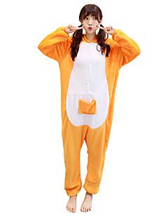 billige Kigurumi-Kigurumi-pysjamas Kenguru Onesie-pysjamas Kostume Flanellette Gul Cosplay Til Voksne Pysjamas med dyremotiv Tegnefilm Halloween Festival