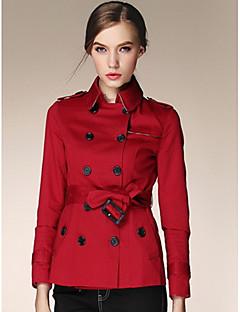 Dames Eenvoudig Herfst Trenchcoat,Casual/Dagelijks Effen Overhemdkraag Driekwartmouw Kort Polyester