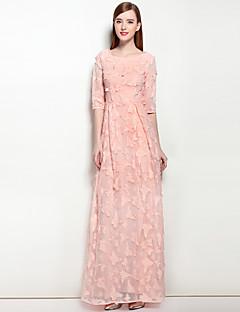 tanie SS 18 Trends-Damskie Praca Sukienka swingowa Sukienka - Jendolity kolor Haft Maxi