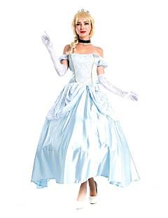billige Halloweenkostymer-Prinsesse Cinderella Eventyr Cosplay Kostumer Maskerade Dame Halloween Karneval Festival / høytid Drakter Blå / Hvit Vintage