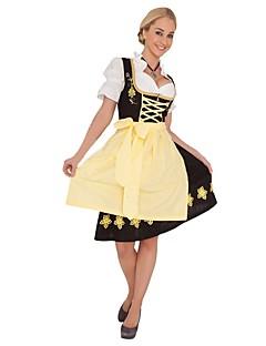 Oktoberfest Cosplay Badedrakt/Kjoler Cosplay Kostumer Drakter Kvinnelig Voksne Oktoberfest Festival/høytid Halloween-kostymer Gul Vintage
