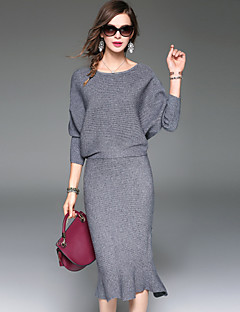 Women's Daily Going out Casual Street chic Sophisticated Winter Fall T-shirt Skirt Suits,Solid Round Neck ¾ Sleeve Polyester Micro-elastic
