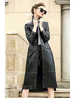 レディース カジュアル/普段着 秋 コート,シンプル シャツカラー ソリッド レギュラー ウール コットン 長袖