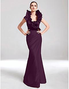 baratos Vestidos de Formatura-Sereia Decote V Longo Tafetá Evento Formal Vestido com Drapeado Lateral / Fru-Fru de TS Couture®