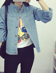 Women's Daily Simple Casual Spring Fall Denim Jacket,Solid Shirt Collar Long Sleeve Regular Cotton