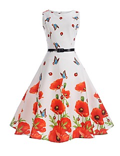 Women's Daily Holiday Work Vintage Casual Sheath Swing Dress,Floral Round Neck Knee-length Sleeveless Cotton Polyester Summer High Rise
