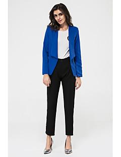 Women's Fall Blazer,Solid Shirt Collar Long Sleeve Blue / White / Black Medium