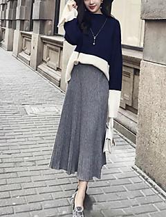 baratos Suéteres de Mulher-Mulheres Para Noite Simples Manga Longa Algodão Conjunto - Sólido / Listrado Algodão / Gola Redonda / Outono / Inverno