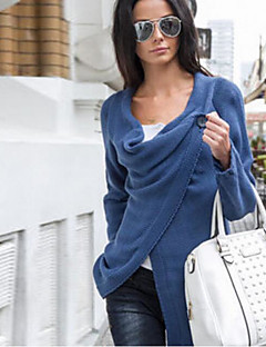 Women's Daily Regular Pullover,Solid Round Neck Long Sleeves Polyester Winter Fall Medium Micro-elastic