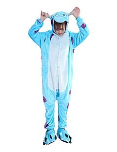 billige Kigurumi-Kigurumi-pysjamas med tøfler Blå Monster Tegneserie Onesie-pysjamas Kostume Flannelstoff Cosplay Til Voksne Pysjamas med dyremotiv