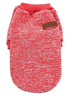 billiga Hundkläder-Katt Hund Kappor T-shirt Tröja Hundkläder Enfärgad Kaffe Röd Grön Blå Rosa Polär Ull Cotton Kostym För husdjur Fest Ledigt/vardag Håller